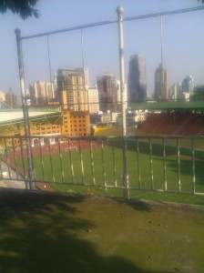 There is a stadium in the middle of the park.  Or maybe near the edge.  Directions have no meaning in Guangzhou.
