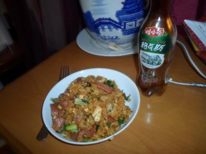 Fried rice with tofu, ham, and Shanghai greens.