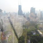 Window shot of Shanghai from the hotel lobby.